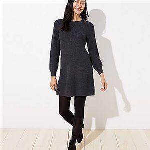Loft Ribbed Tie Back Sweater Dress L Gray Long